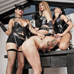 Submissive male tied and dominated
