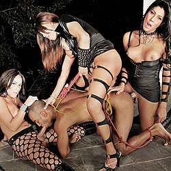 Trio of ts mistresses dominate a man