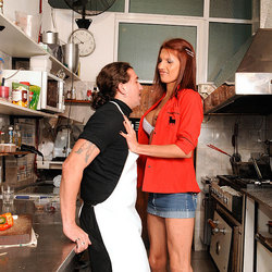 A crowded deli does not prevent this slim tgirl from fucking the chef.