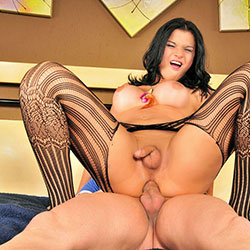 Sexy tranny hottie gets a big cock.